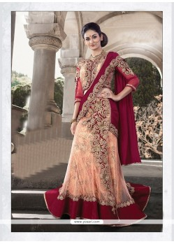 Peach Embroidered Work Velvet Lehenga Saree