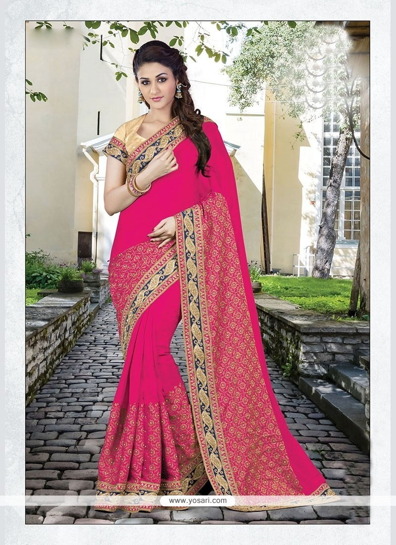 Ideal Embroidered Work Hot Pink Traditional Saree