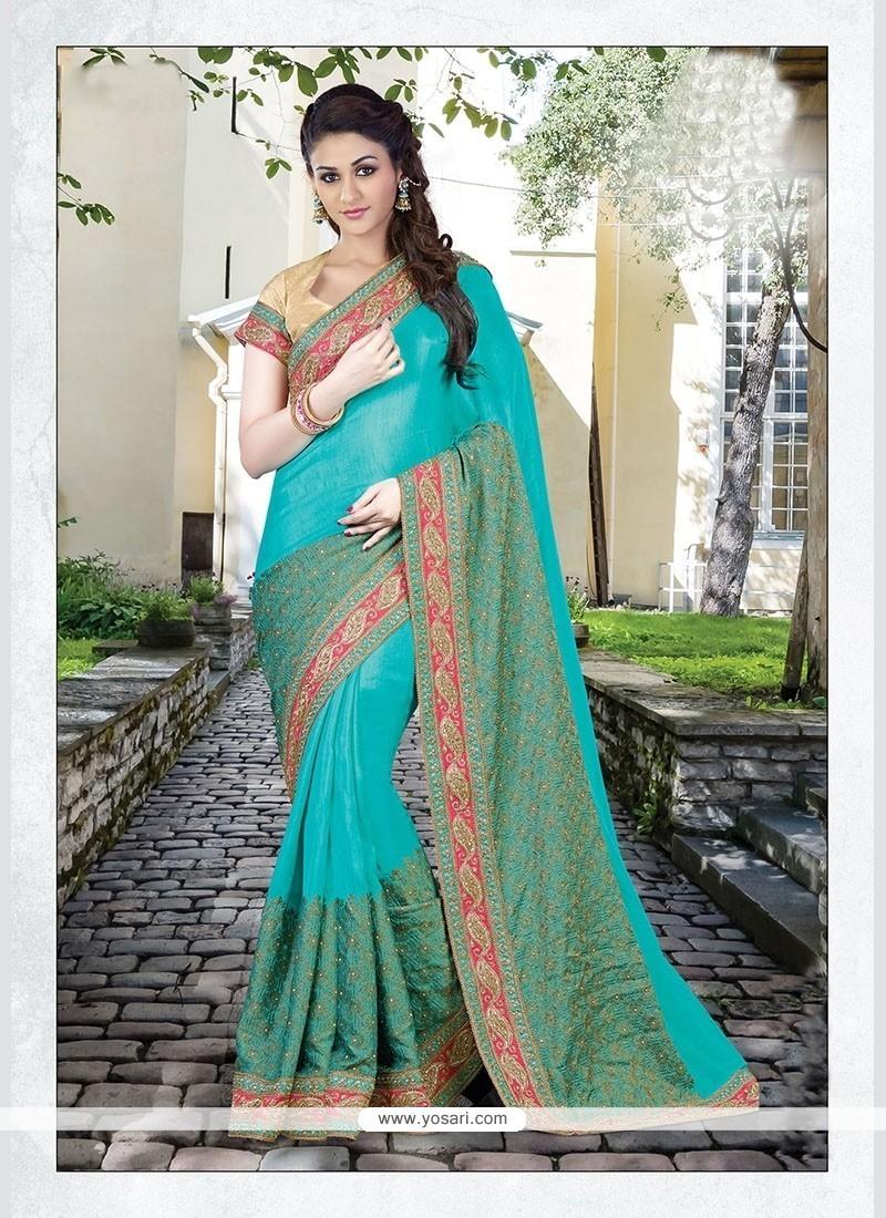 Entrancing Silk Embroidered Work Designer Traditional Sarees