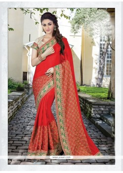 Lavish Embroidered Work Red Classic Designer Saree