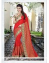 Lavish Embroidered Work Red Classic Designer Saree