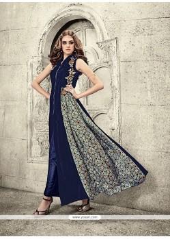 Astounding Velvet Navy Blue Designer Salwar Suit