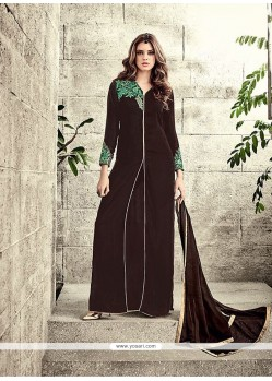 Gilded Resham Work Brown Designer Salwar Suit