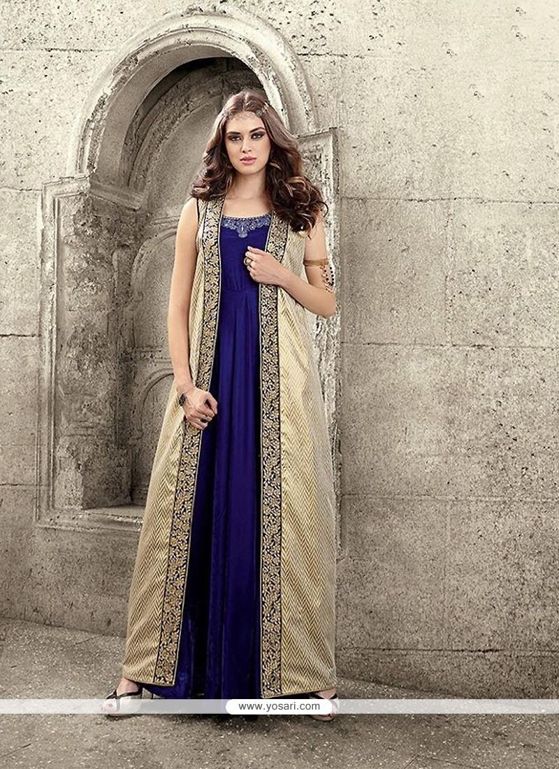 Swanky Resham Work Blue Velvet Designer Salwar Suit