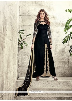 Exceeding Velvet Black Embroidered Work Designer Salwar Suit