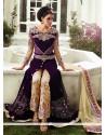 Fab Purple Velvet Straight Suit