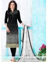 Miraculous Embroidered Work Black Cotton Churidar Designer Suit