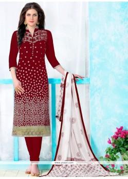 Tempting Patch Border Work Maroon Cotton Churidar Designer Suit