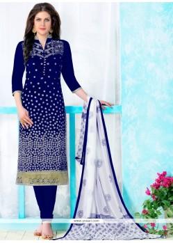 Zesty Cotton Patch Border Work Churidar Designer Suit
