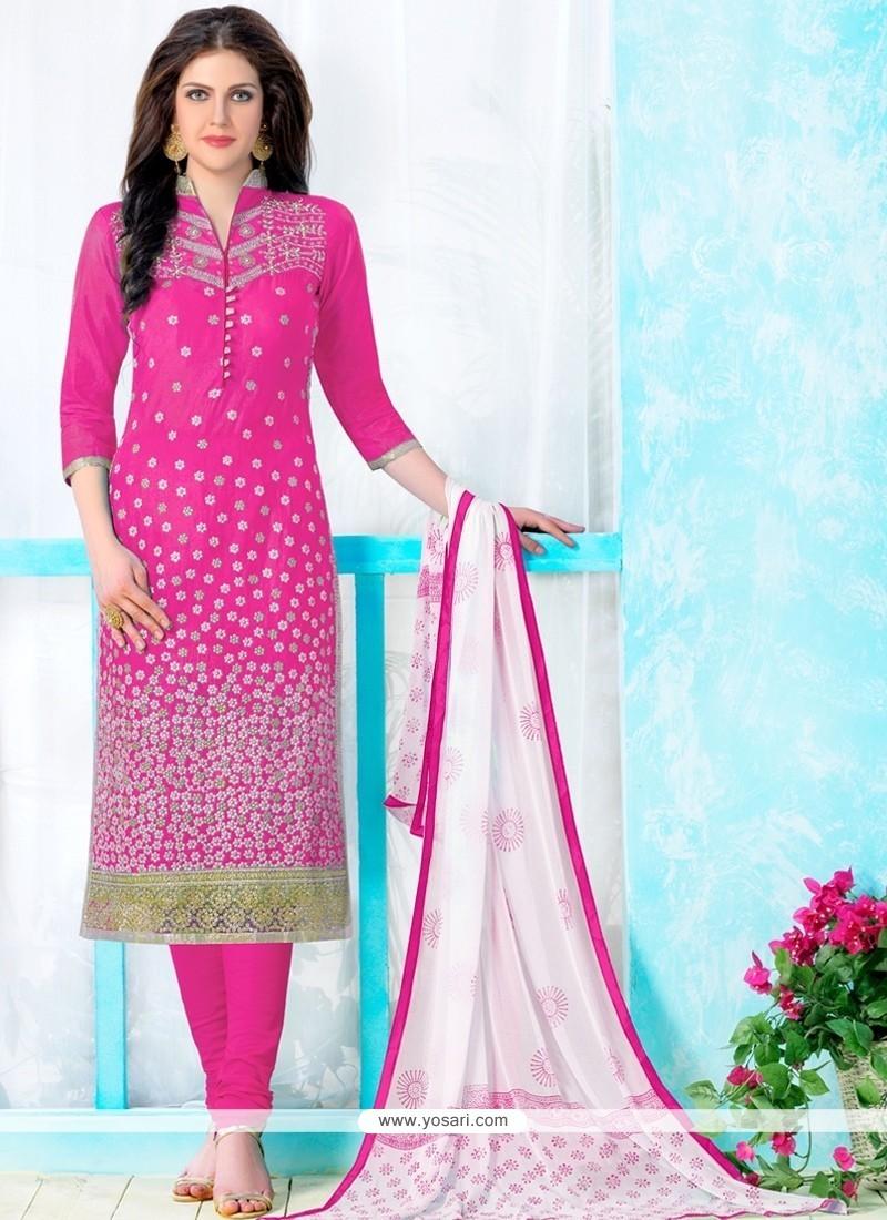 Distinctive Hot Pink Churidar Designer Suit