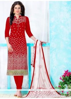 Patch Border Cotton Churidar Designer Suit In Red
