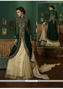 Incredible Net Green Embroidered Work A Line Lehenga Choli