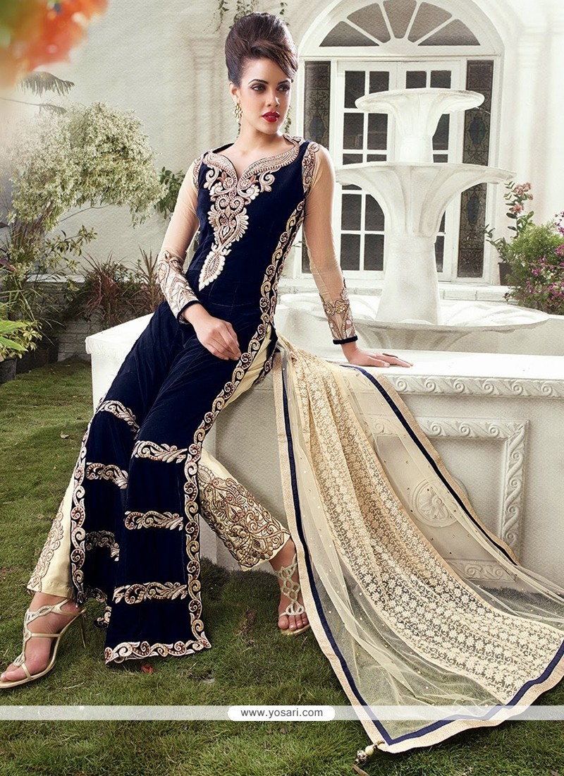 Navy Blue And Cream Embroidery Straight Suit