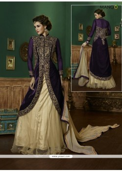 Monumental Purple Patch Border Work A Line Lehenga Choli