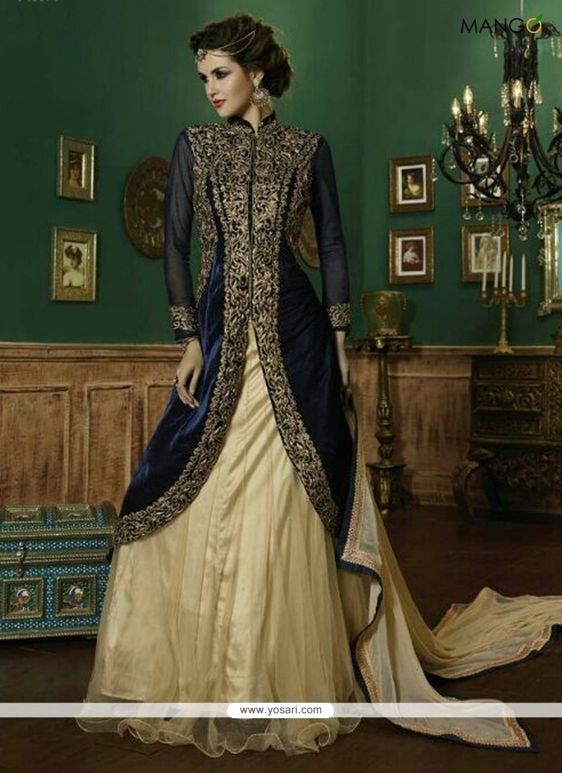 Navy Blue Embroidered Work A Line Lehenga Choli