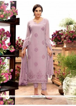 Exciting Purple Georgette Designer Straight Salwar Kameez