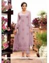Exciting Purple Georgette Designer Straight Salwar Kameez