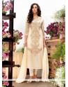Cream Georgette Designer Straight Salwar Kameez