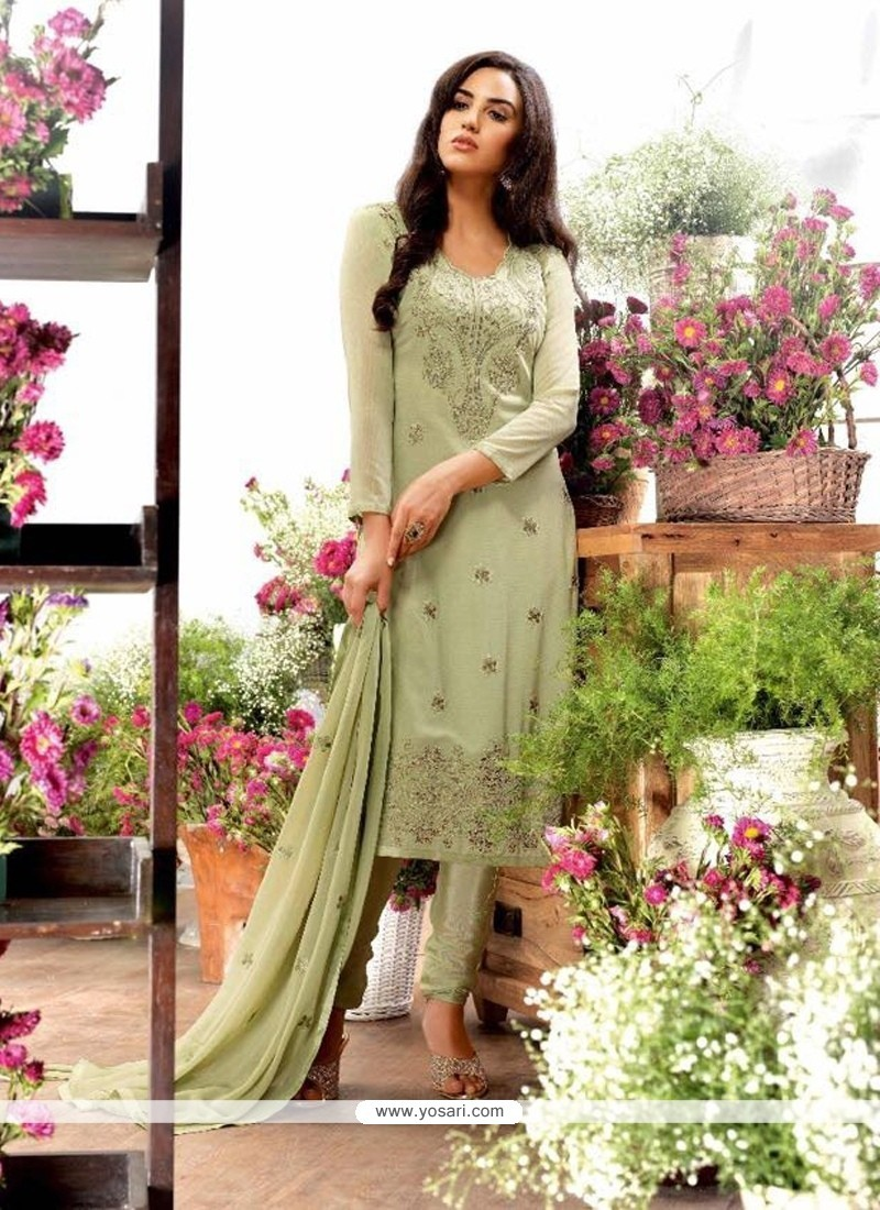 Striking Georgette Embroidered Work Designer Straight Salwar Kameez