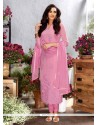 Distinctive Georgette Embroidered Work Designer Straight Salwar Kameez