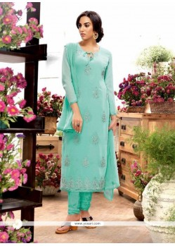 Wonderous Turquoise Embroidered Work Georgette Designer Straight Salwar Kameez
