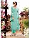 Wonderous Turquoise Embroidered Work Georgette Designer Straight Salwar Kameez