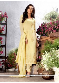 Glorious Embroidered Work Yellow Georgette Churidar Designer Suit