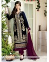 Blue Zari Velvet Churidar Suit