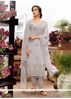 Astounding Georgette Embroidered Work Churidar Designer Suit