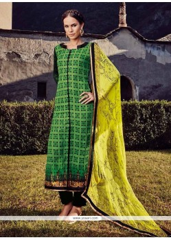 Demure Embroidered Work Fancy Fabric Designer Straight Salwar Suit