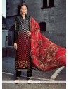 Latest Grey And Red Designer Straight Salwar Suit