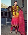 Resplendent Hot Pink And Yellow Designer Straight Salwar Suit