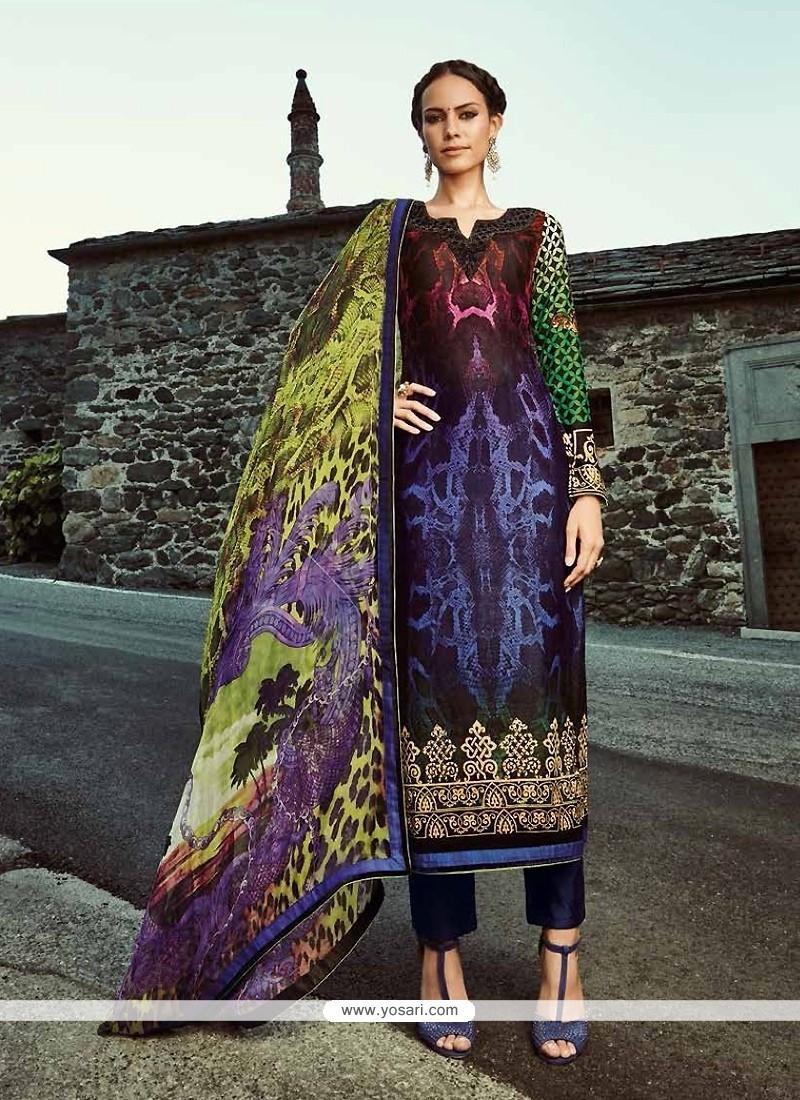 Prime Fancy Fabric Black Designer Straight Salwar Suit
