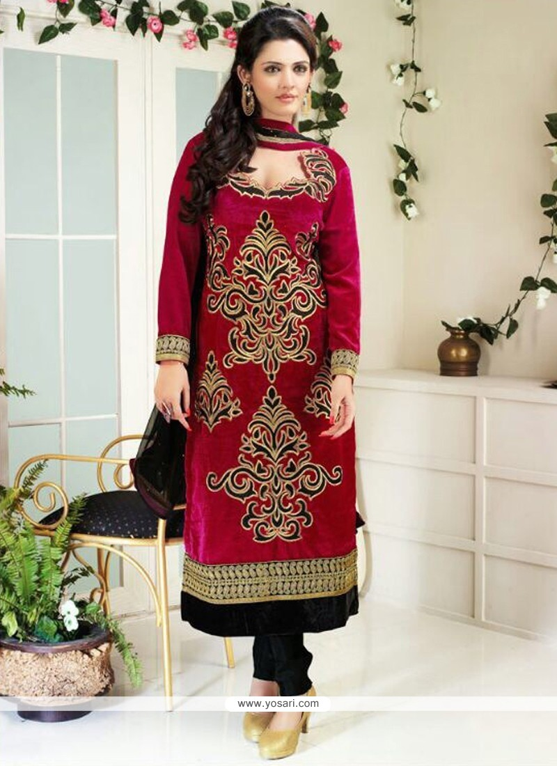 Hot Pink Velvet Churidar Suit