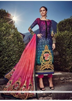 Regal Fancy Fabric Digital Print Work Designer Straight Salwar Suit