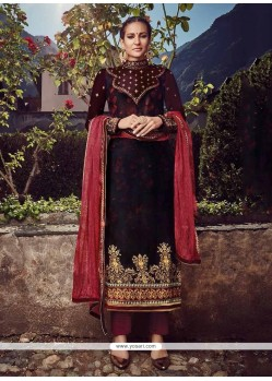 Unique Embroidered Work Wine Fancy Fabric Designer Straight Salwar Suit