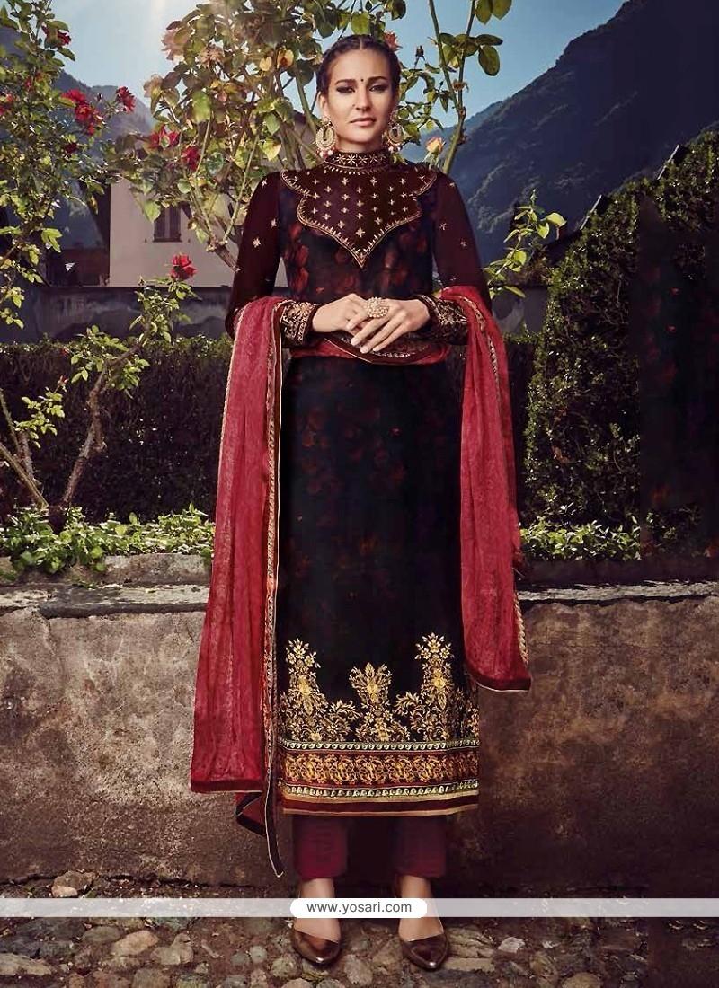 Unique Embroidered Work Wine Fancy Fabric Designer Straight Salwar Suit