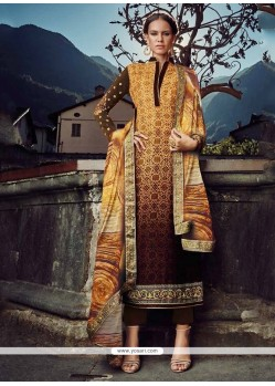 Gleaming Brown And Mustard Designer Straight Salwar Suit