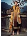 Gleaming Brown And Mustard Designer Straight Salwar Suit