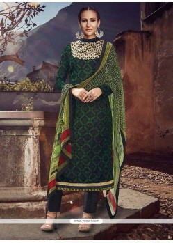 Renowned Green Designer Straight Salwar Suit