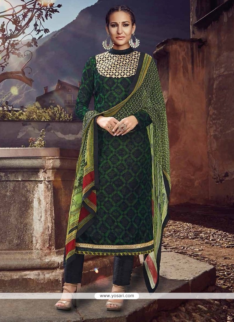 Renowned Green Designer Straight Salwar Suit