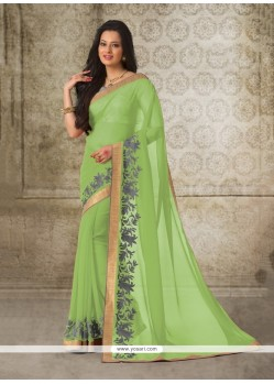 Brilliant Georgette Green Casual Saree