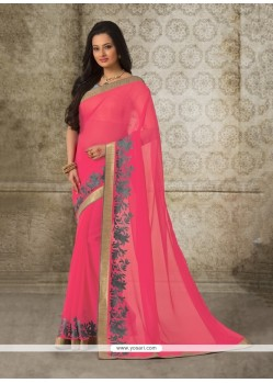 Marvelous Rose Pink Georgette Casual Saree