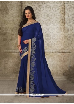 Strange Navy Blue Patch Border Work Casual Saree