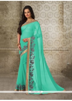 Exotic Sea Green Patch Border Work Casual Saree