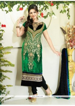 Green Embroidery Work Churidar Suit