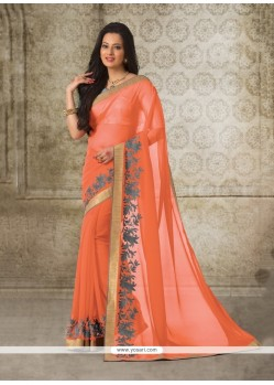 Subtle Georgette Patch Border Work Casual Saree