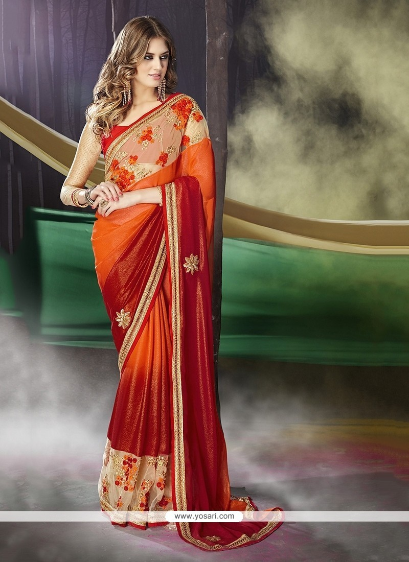 Latest Georgette Embroidered Work Traditional Saree