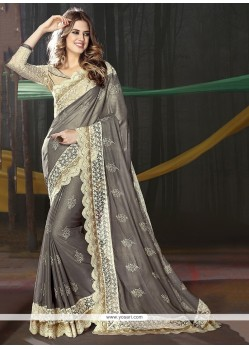 Prepossessing Grey Georgette Classic Saree