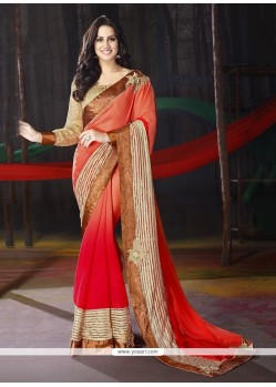 Aristocratic Embroidered Work Georgette Trendy Saree